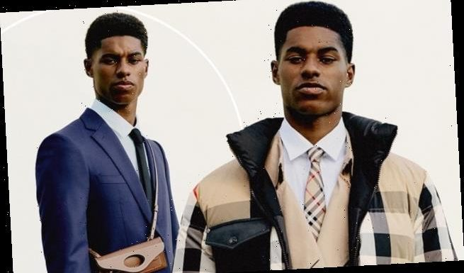 Marcus Rashford oozes style in a Burberry padded jacket and sharp suit