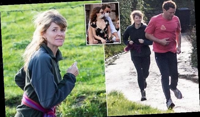 Dominic West and wife Catherine FitzGerald go for a run