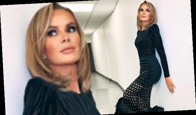 Amanda Holden, 49, wows in a black cut-out tasselled pencil skirt