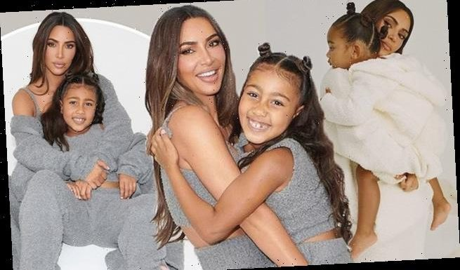 Kim Kardashian poses with North and Chicago for new SKIMS line