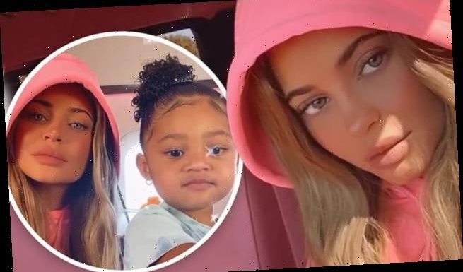 Kylie Jenner uses a blue eye filter as she spends time with Stormi