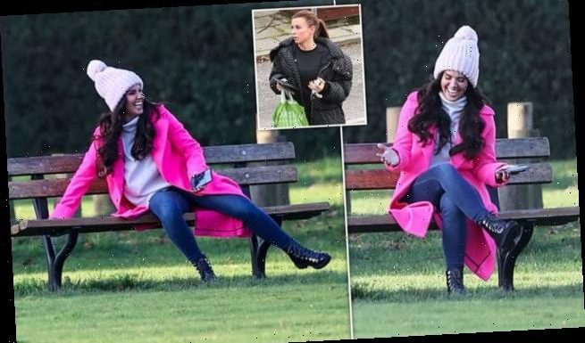 Rebekah Vardy laughs during Dancing On Ice filming after wag battle