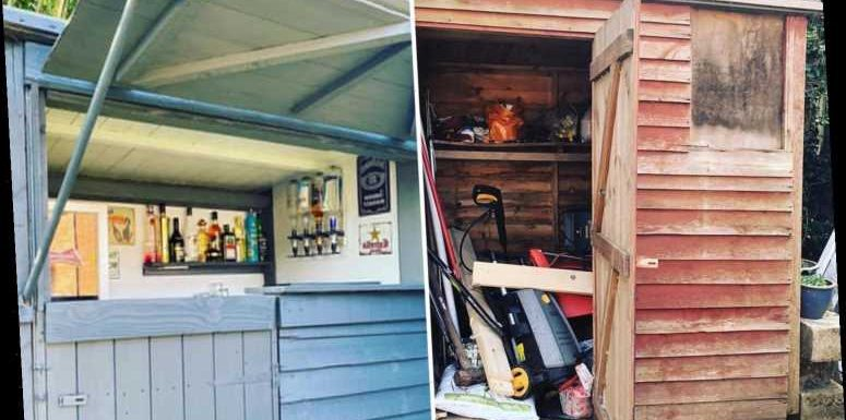 Son transforms his mum's junk-filled shed into a trendy outdoor bar for free using old paint and free wood