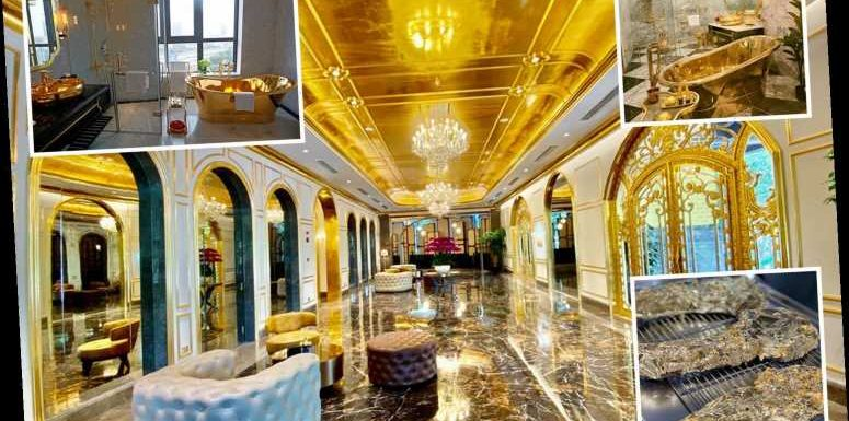 Inside world's first gold-plated hotel in Vietnam with bling bathtubs, toilet seats and STEAKS