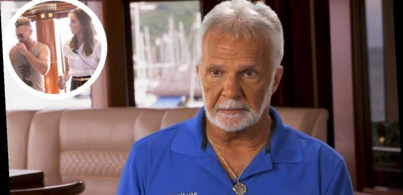 Below Deck: Captain Lee Rosbach reacts to charter guest Charley jumping behind bar to help stews
