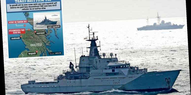 Two Russian spy ships are patrolling within 30-miles of British naval base and RAF Typhoon squadron