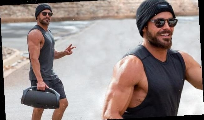 Zac Efron, 33, flaunts his VERY bulging biceps during a gym session SA