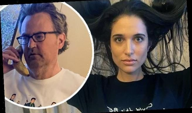 Matthew Perry has fiancée Molly Hurwitz model Friends-inspired t-shirt