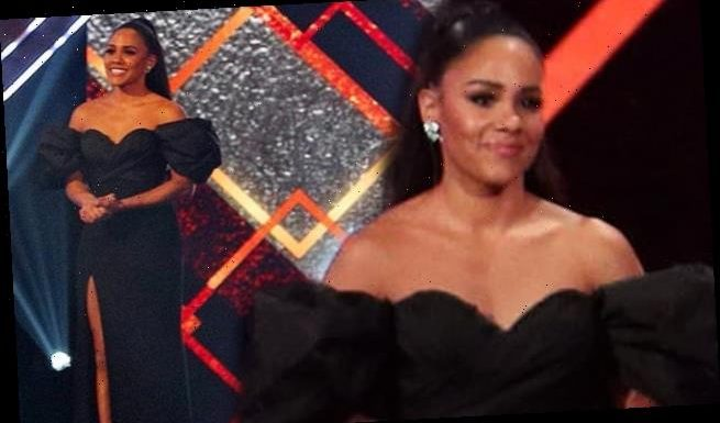 Alex Scott wears black bardot gown at Sports Personality of the Year