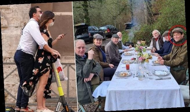 Dominic West pictured among group of seven enjoying outdoor meal