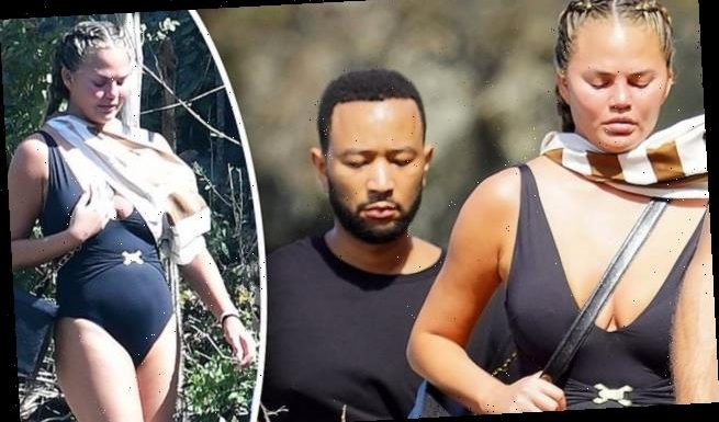 Chrissy Teigen hikes with husband John Legend and pals in St. Barts