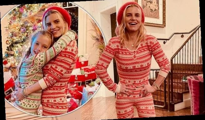Jessica Simpson sports matching pyjamas with daughter Maxwell
