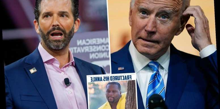 Don Jr mocks Biden for fracturing his foot playing with his dog as he says Kamala is 'rubbing her hands together'