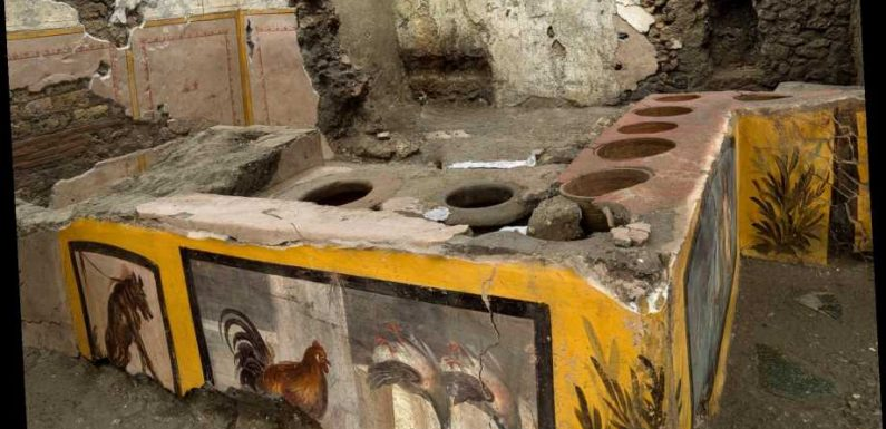 A 2,000-year-old ancient Roman fast food takeaway shop uncovered by archaeologists