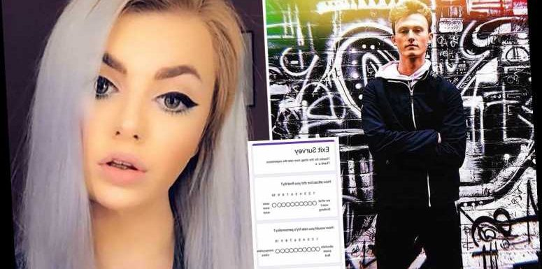 Lad shares the bizarre 'exit survey' his 'psychopath' one-night stand sent him asking him to 'rate his experience