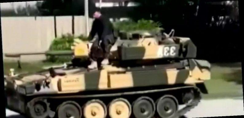 Maniac drives tank around neighbourhood scaring neighbours in disturbing footage