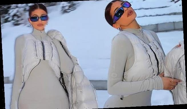 Kylie Jenner models a chic white ski bunny outfit while in Aspen