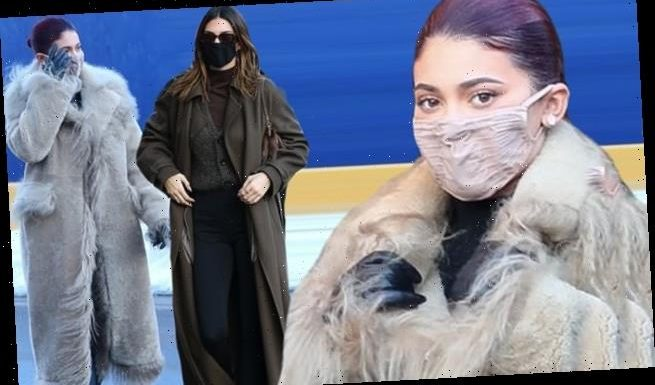 Kylie Jenner wears a furry coat as she and Kendall shop in Aspen