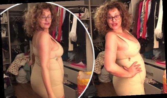 Nadia Sawalha, 56, parodies Kim Kardashian's SKIMS shapewear promos