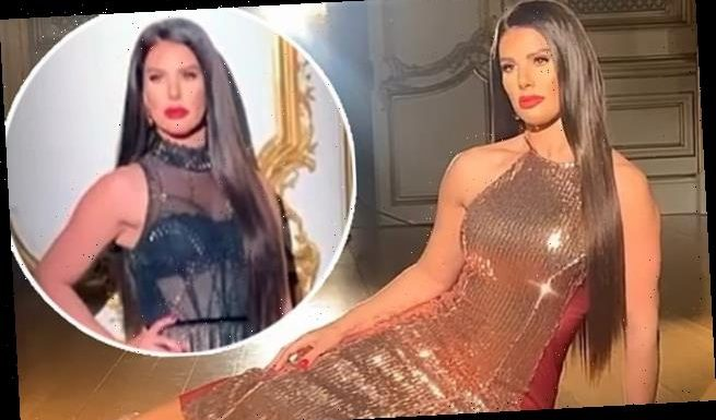 Rebekah Vardy dazzles in a metallic gold gown as during photoshoot
