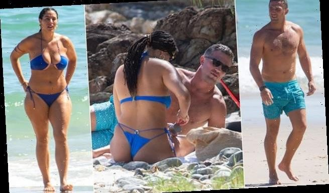 Sam Burgess hits the beach in Byron Bay with model Jessica Vander