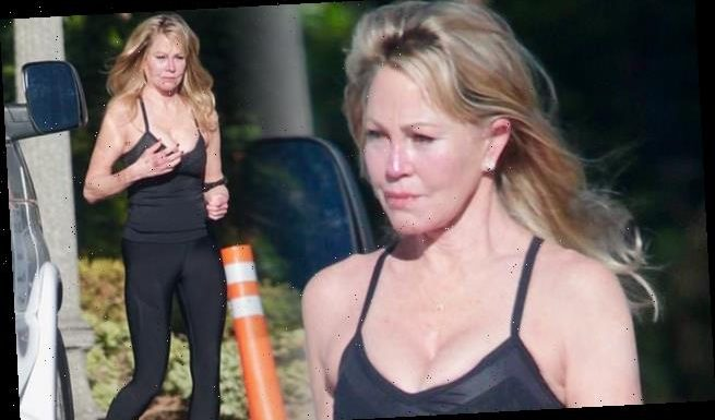 Melanie Griffith, 63, looks svelte in a black vest top and leggings