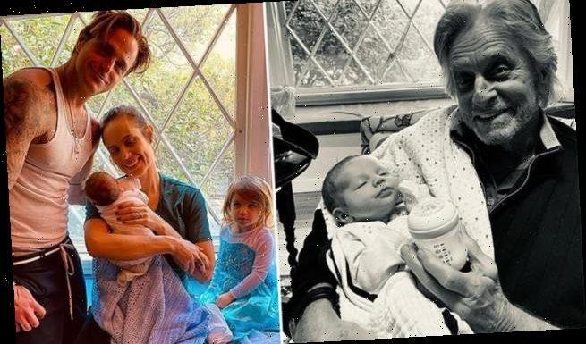 Michael Douglas, 76, sees his month old grandson Ryder T. Douglas