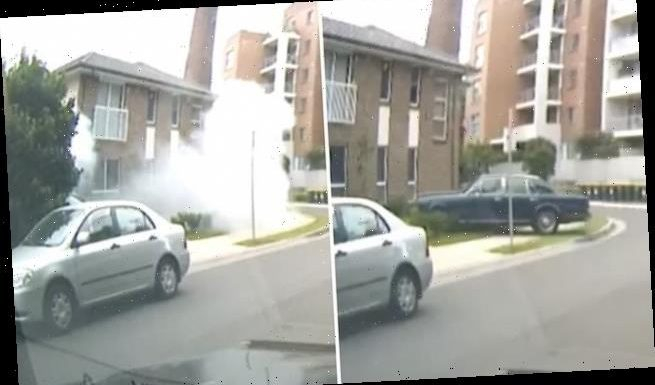 Incredible moment a vintage Rolls Royce ploughs into a family home