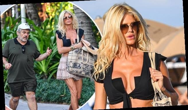 Victoria Silvstedt, 46,hits Miami Beach with boyfriend Maurice Dabbah
