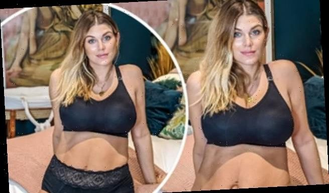 Ashley James proudly displays her post-part figure in  lingerie