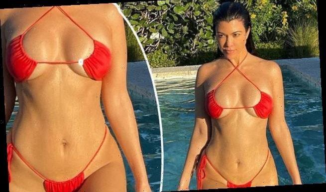 Kourtney Kardashian showcases her incredible figure in red bikini