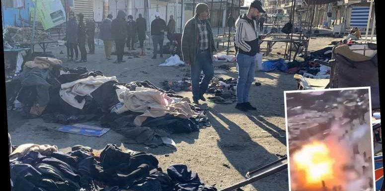 Iraq attack: Horrifying moment 'ISIS' suicide bomber blows himself up as double blast kills 32 at Baghdad market