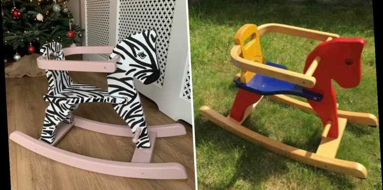Crafty mum transforms tatty rocking horse into amazing zebra using just paint, here's how you can do it too