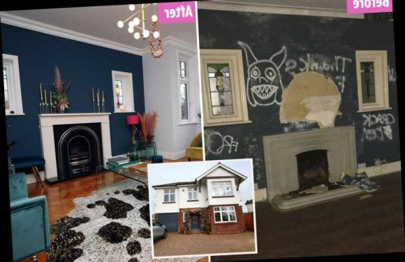 Abandoned 'crack den' covered in graffiti transformed into a plush family pad as owner shares jaw-dropping makeover pics