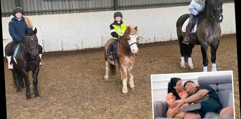 Katie Price goes horse riding as she spends quality time with her two daughters after 'groundbreaking' Harvey doc