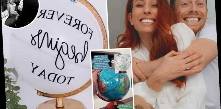 Stacey Solomon has 'goosebumps' as she starts wedding preparations and completes her unusual globe guestbook