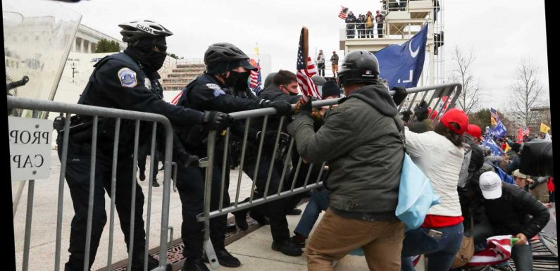 Hundreds of 'Trump fans' STORM Capitol building grounds, rip down fences and fight police in shock footage