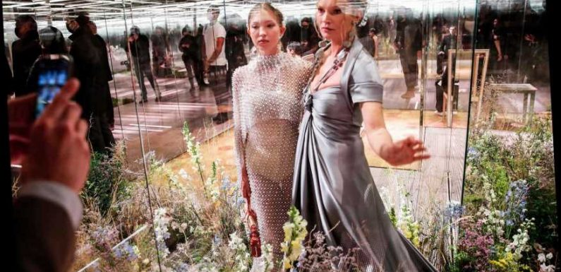 Kate Moss, 47, and daughter Lila, 18, walk the catwalk in shimmering gowns in Paris