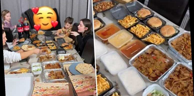 Mum-of-22 Sue Radford shows off enormous Friday night family takeaway – with pizza, kebabs, curry, chips AND burgers