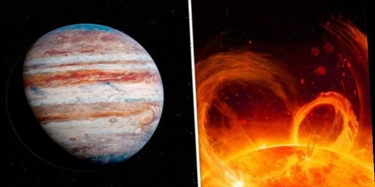 NASA satellite captures solar flare on video with Jupiter in the background