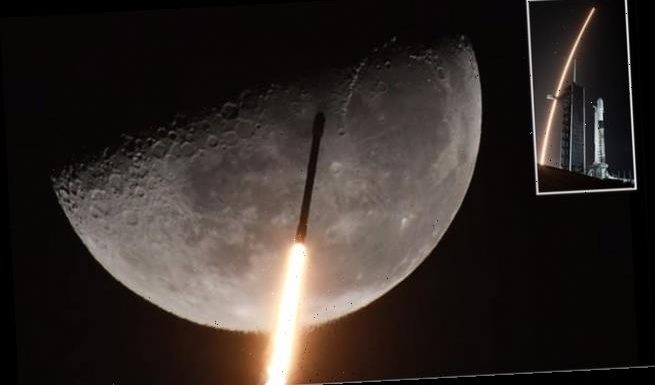 Stunning video captures SpaceX's Falcon 9 rocket soaring past the moon