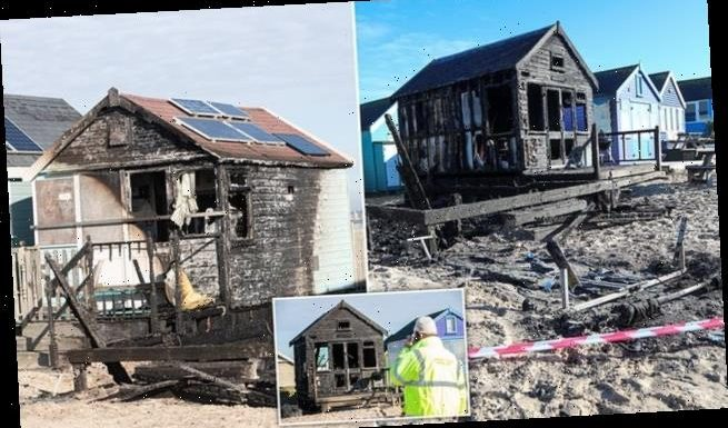 Three of Britain's most expensive beach huts are torched in Dorset