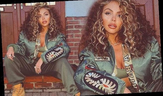 Jesy Nelson cuts a stylish figure in a bomber jacket and satin joggers