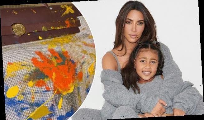 Kim Kardashian displays Hermès bag daughter North painted as a baby