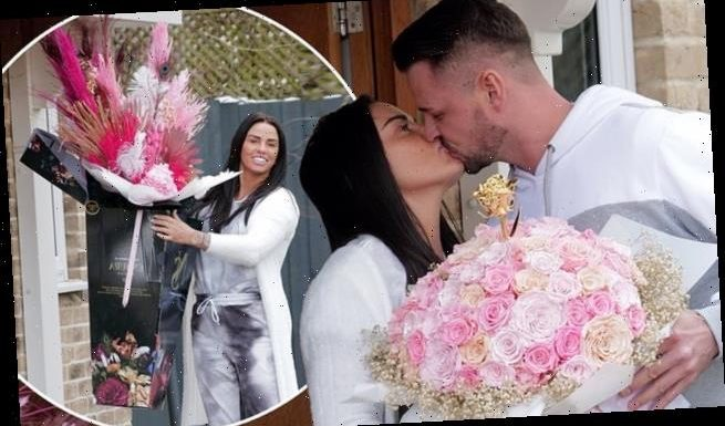 Katie Price gets TWO bouquets from Carl for first Valentine's Day