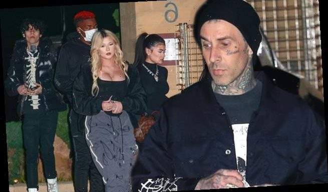 Travis Barker steps out for dinner with his children