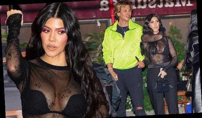 Kourtney Kardashian models a VERY sheer top with Jonathan Cheban