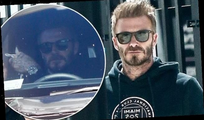 David Beckham is cool in a hoodie at the Inter Miami stadium