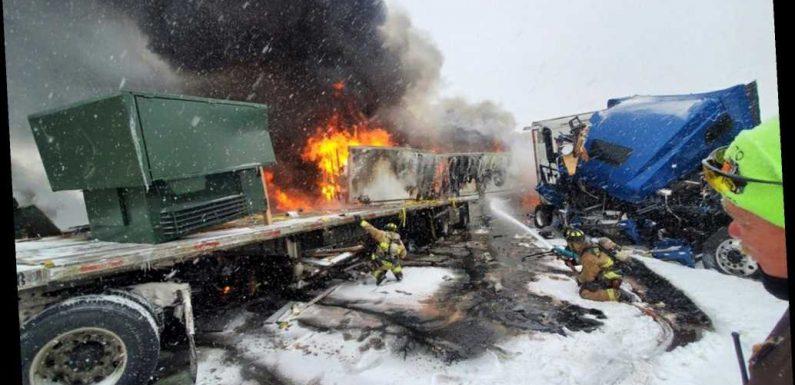 Fiery pileup on snowy Oklahoma turnpike