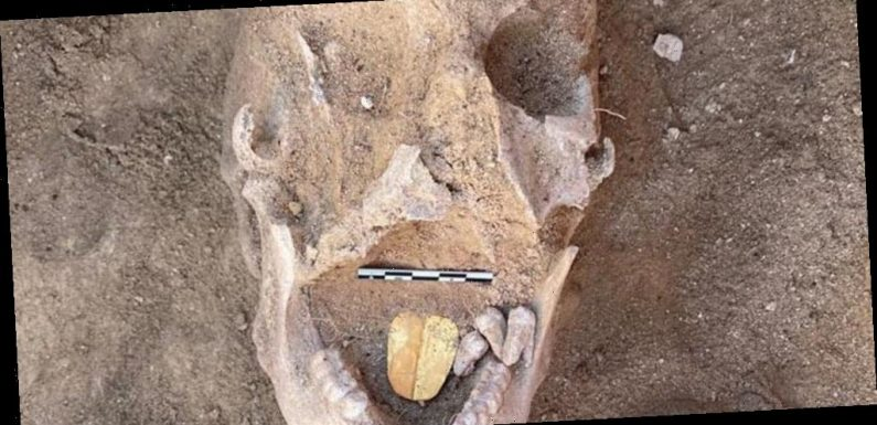 Archaeologists have discovered an Egyptian mummy buried with a golden tongue